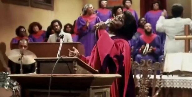 Reverend Cleophus James Preaching to the Amen Corner in the Blues Brothers