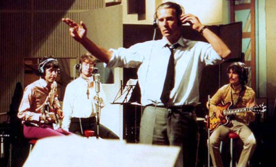 The Beatles and George Martin in the studio