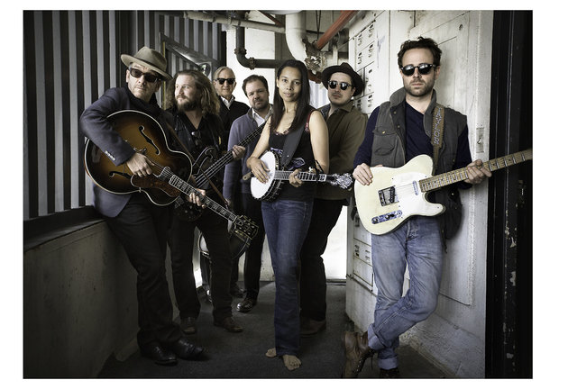 Pictured: Elvis Costello, Jim James,T Bone Burnett, Jay Bellerose, Rhiannon Giddens, Marcus Mumford, Taylor Goldsmith.Photo Credit: Sam Jones/Showtime© 2014 Showtime Networks Inc