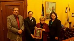 NJPHA presents the 2016 Public Health Award to Senator Loretta Weinberg (l tor) Dr. Jim Brown, Kevin McNally (NJPHA President), Sen. Weinberg, Elizabeth Brewer