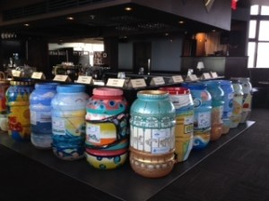 Rain Barrel Art Project displayed at the 2014 State of the Shore Media Event on May 22, 2014