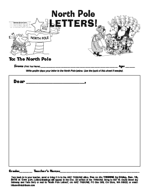 2016 North Pole Letters form