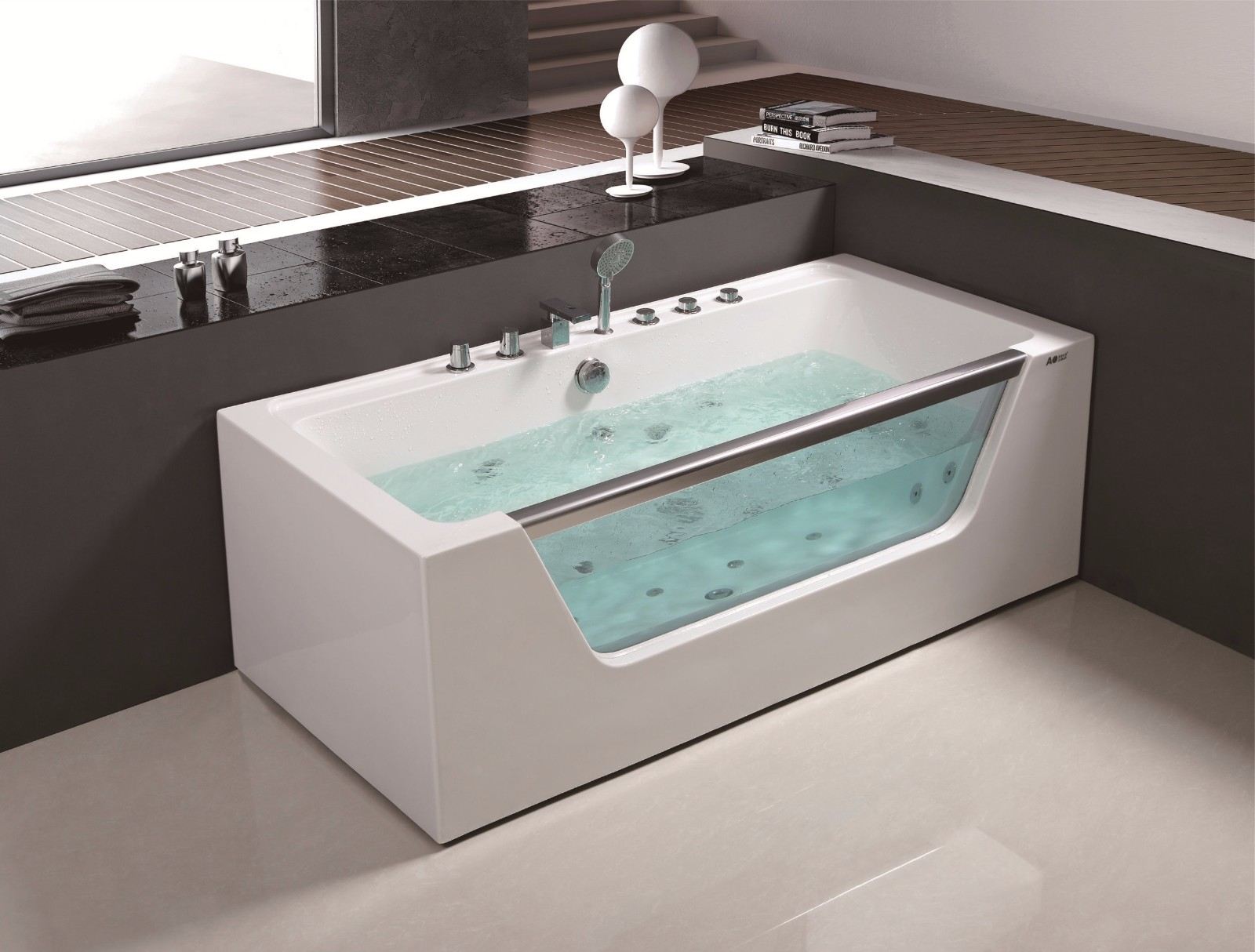 Badkamer Jacuzzi China Luxe Acryl Whirlpool Jetted Hedendaagse Simple Style Corner