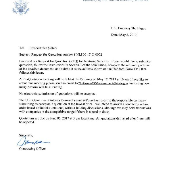 cover letter Janitorial Services SNL80017Q0002 US Embassy and - janitorial cover letter