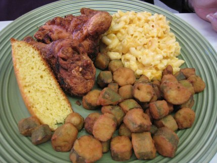 Fried Chicken with two sides: Okra and Mac & Cheese