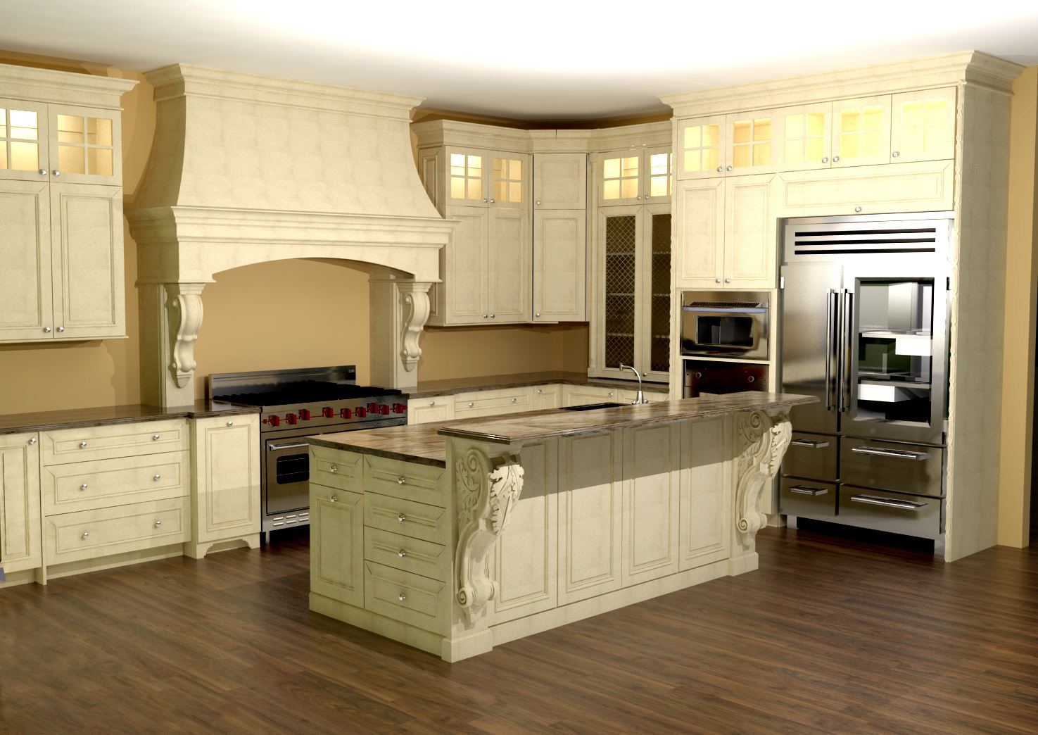 Aquarium Island Kitchen Large Kitchen With Custom Hood. Features Large Enkeboll