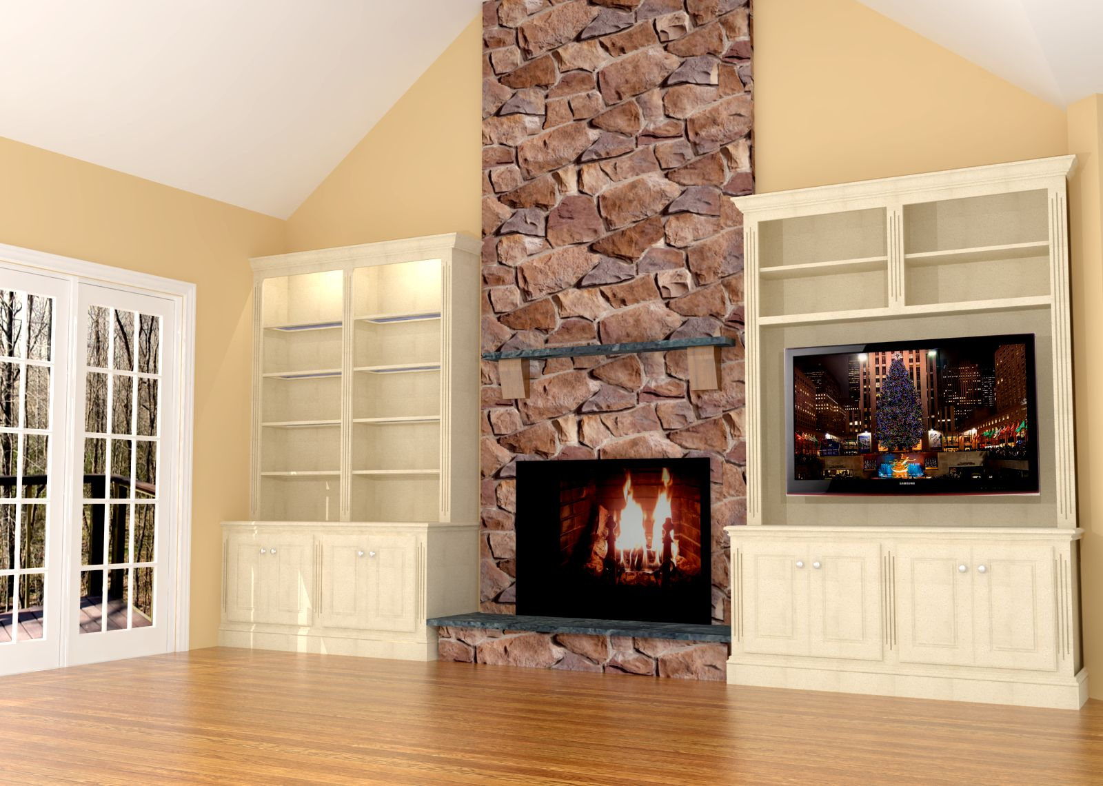 Camino Bioetanolo Yahoo Fireplace Wall Built-ins W/led Tv | Nick Miller Design