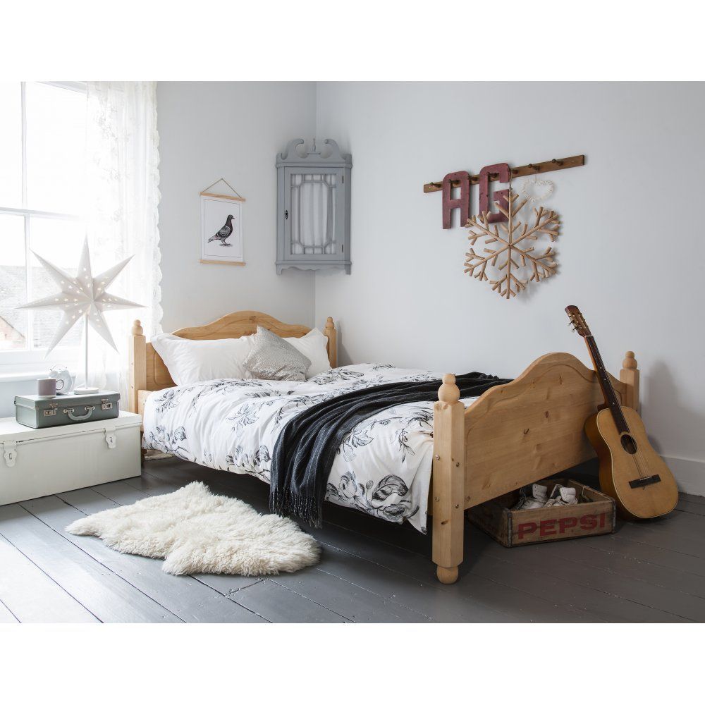 Double Beds Double Bed Olivia In Natural Pine Solid Wood Frame