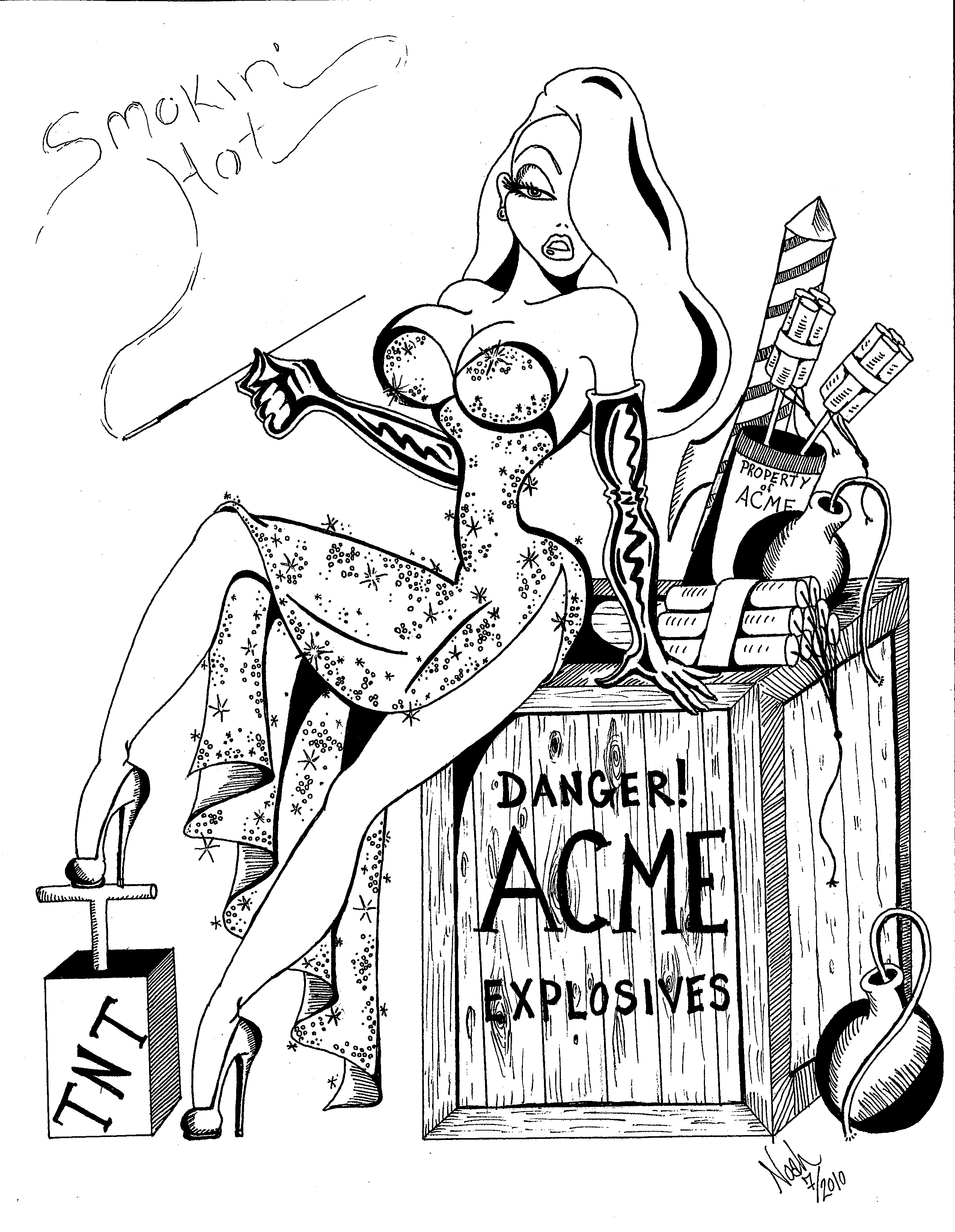 Sexy Pin Up Drawings Line Art Coloring Pages