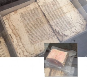 images of old Qurans being disinfected of pests