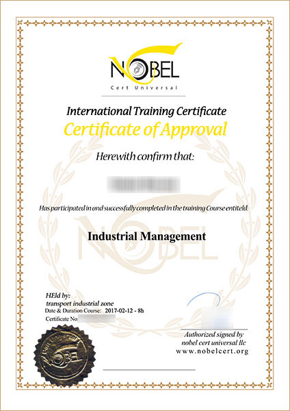 Training Certificate \u2013 Nobel Cert Universal training ISO CE