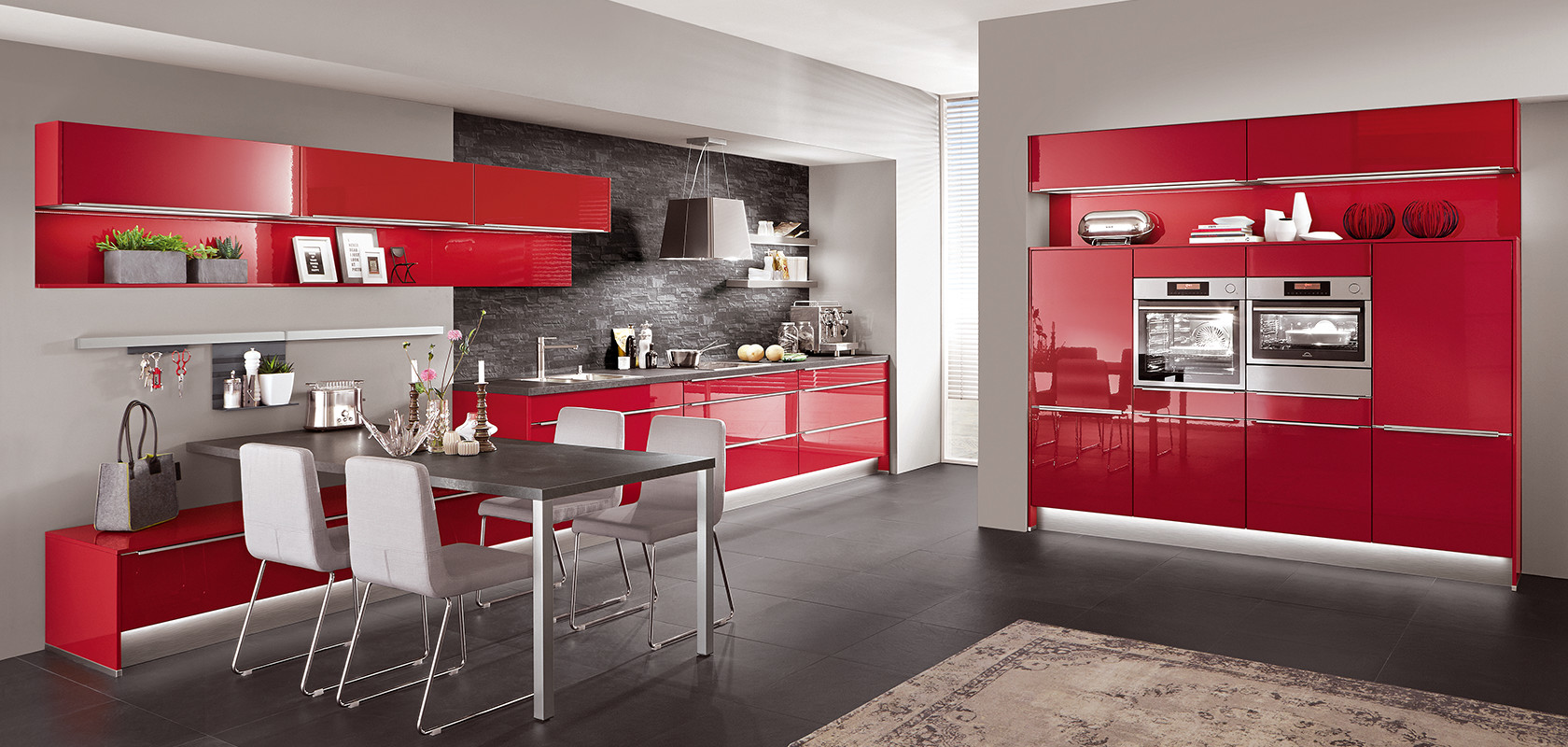 Cottage Küche Nobilia Flash 501 Red High Gloss Modern Kitchens Nobilia Küchen