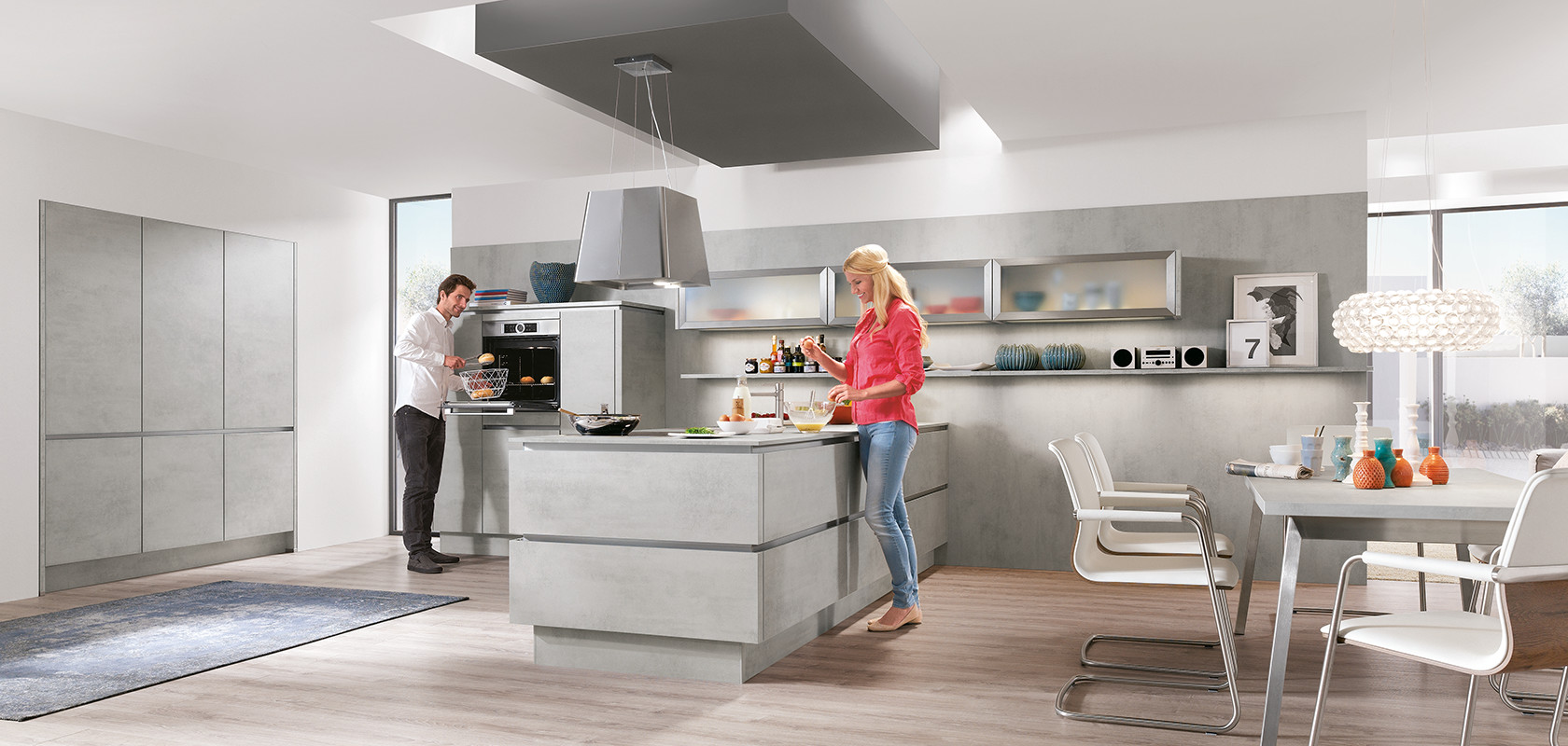 Nobilia Küchen N Line Riva 892 Concrete Grey Reproduction Designer Kitchens Line N