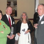 "(L-R): Lindsay Dearborn, Raymond Dodge (who received the ""Soup to Nuts"" Volunteer Award) and friend, Renny Cushing"