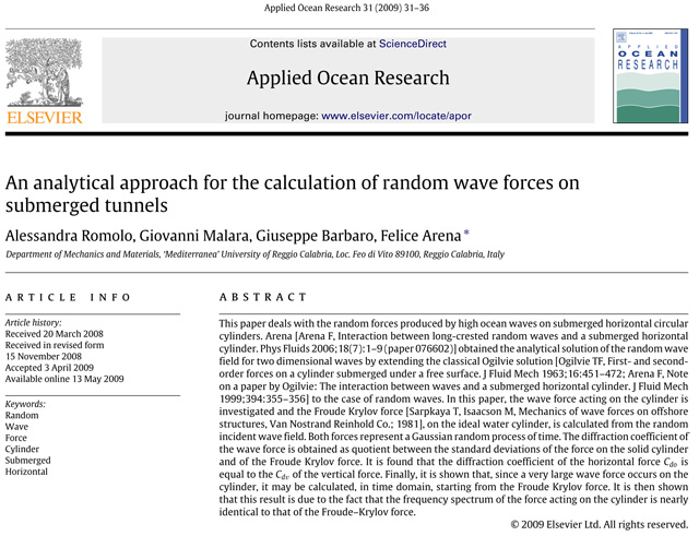 An analytical approach for the calculation of random wave forces on