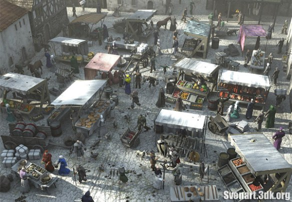 medieval marketplace via deviantart