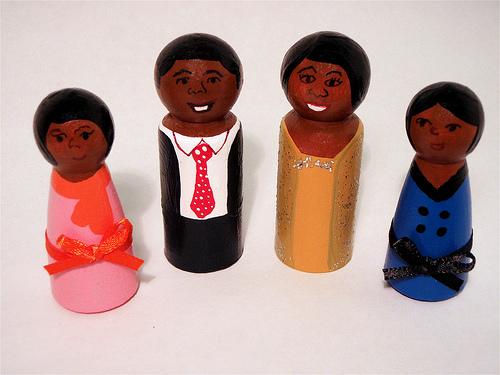 Obama family wooden dolls