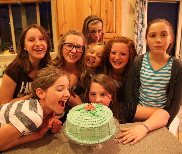 teens and ruffle cake