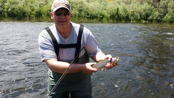 Fly fishing on the South Platte: 2 Cutthroats, 3 Cutbows, and 12 Rainbows.