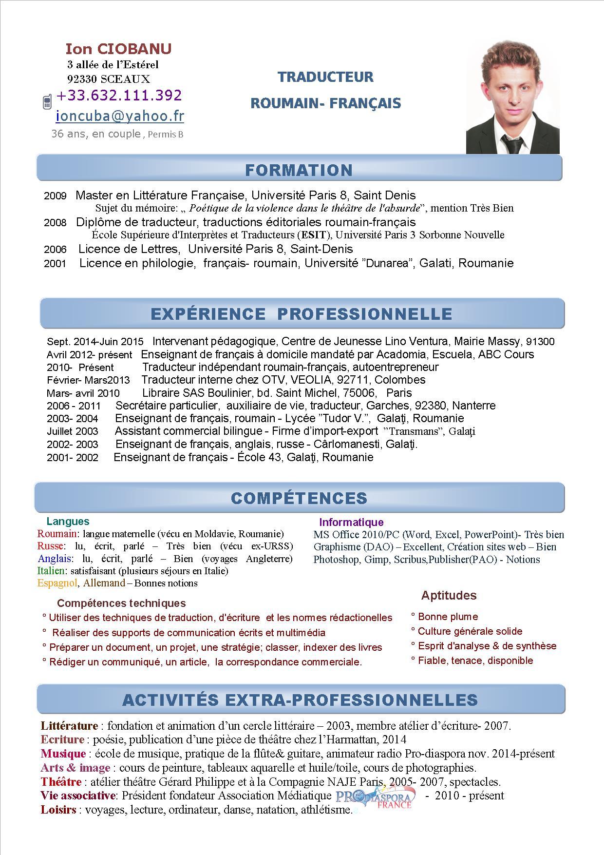 cv traducteur francais anglais