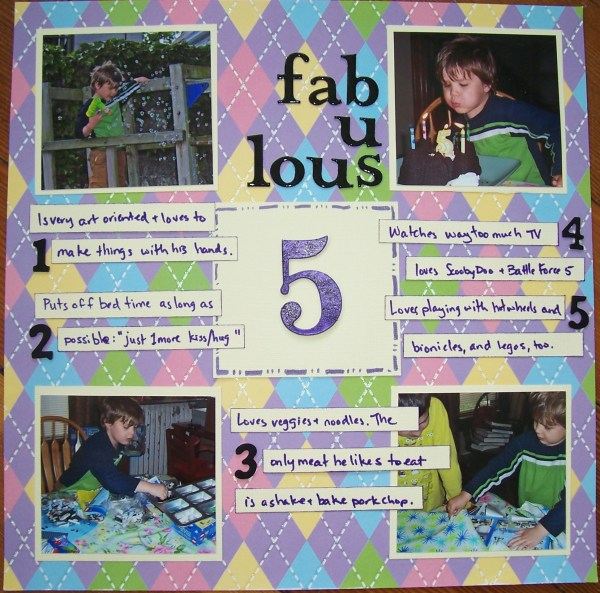 fabulous 5 || noexcusescrapbooking.com