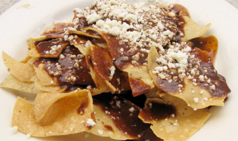 Chips and Chocolate Mole Sauce