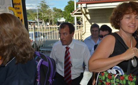 Candidate for Fisher Mal Brough boards the train.