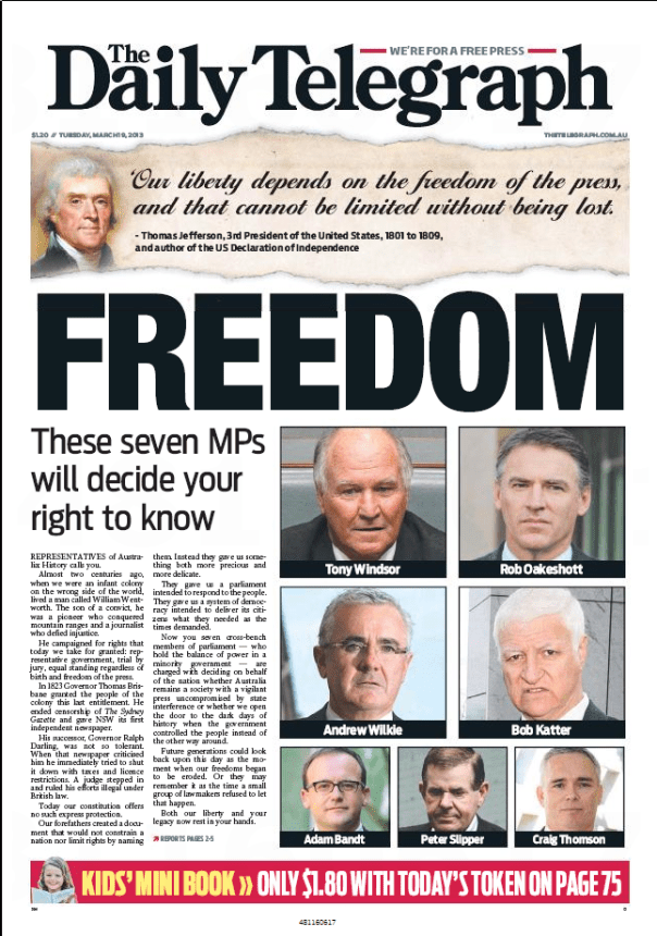 Daily Telegraph Front Page 19 March 2013
