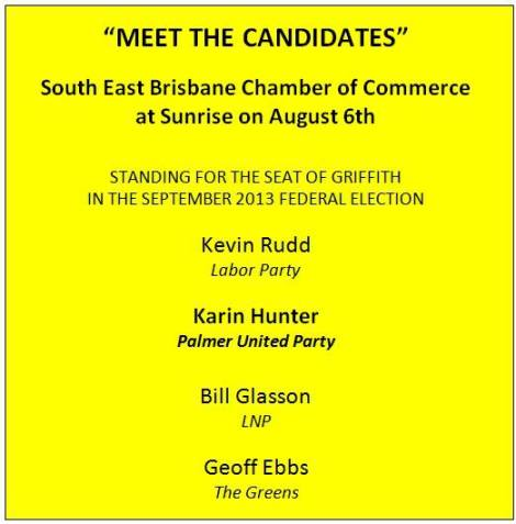 Advertisement for Griffith candidate breakfast