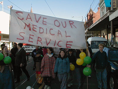 Save our Medical service march on Sydney Road in August 1999