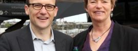 Deputy leader of the Greens and Member for Melbourne, Adam Bandt with Greens Senate candidate Janet Rice launching Melbourne transport policy