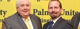 Clive Palmer with Ricky Muir. Photo: Jacky Ghossein