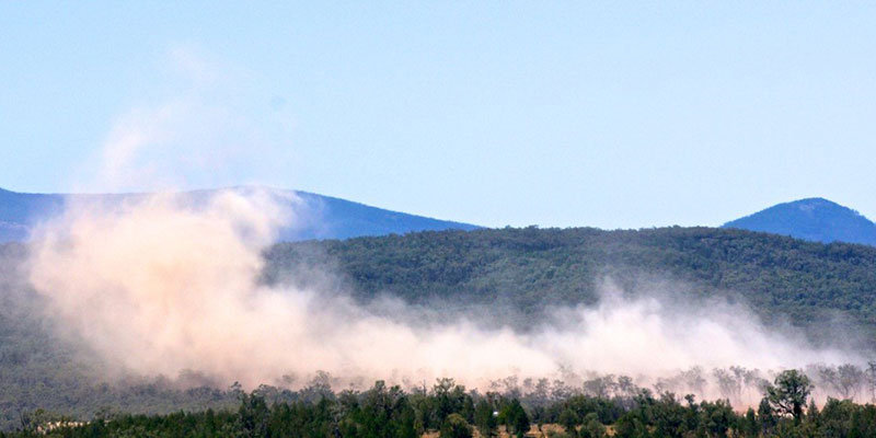 A small blast at the Maules Creek mine box-cut, viewed from the nearby State Conservation Area. Photo Tom Mitchell