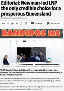 30/01/15 The Courier Mail editorial - Newman-led LNP the only credible choice for a prosperous Queensland.
