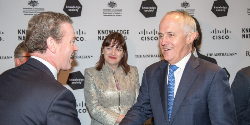 Photo: Knowledge Society/ Flickr - Knowledge Nation 100 Luncheon (10 Dec 2015) - The Hon Christopher Pyne MP, Minister for Industry, Innovation and Science with the Prime Minister of Australia, the Hon Malcolm Turnbull MP © Knowledge Society 2015. Photograph by Rick Stevens. Creative Commons (CC BY-ND 2.0)