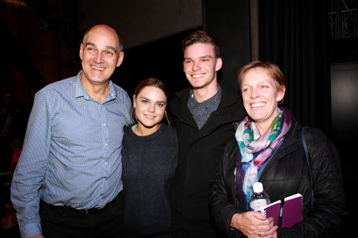 Greens candidate Jenny O'Connor with her family after the forum. Photo: @Jansant