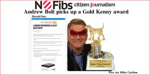 Andrew Bolt picks up a Gold Kenny award