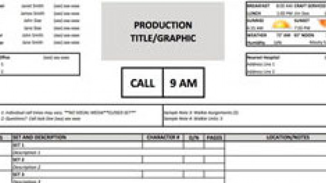 call sheet template - Towerssconstruction