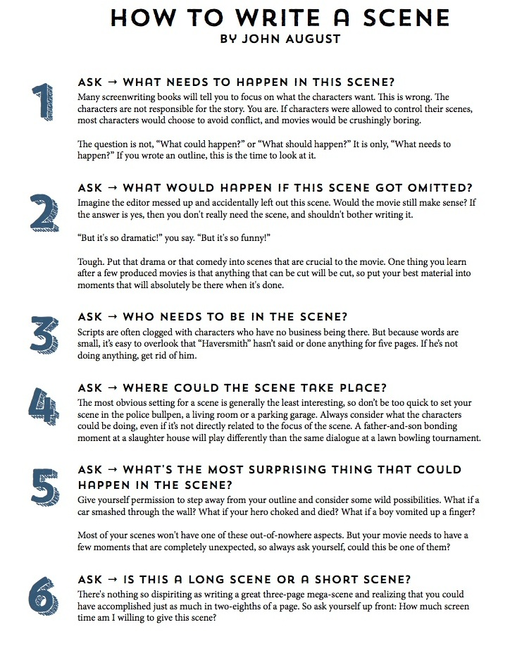 Infographic John Augustu0027s 11-Step Guide to Writing a Scene - how to write a