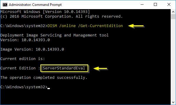 Windows 2016 Server convert Evaluation to Licensed version