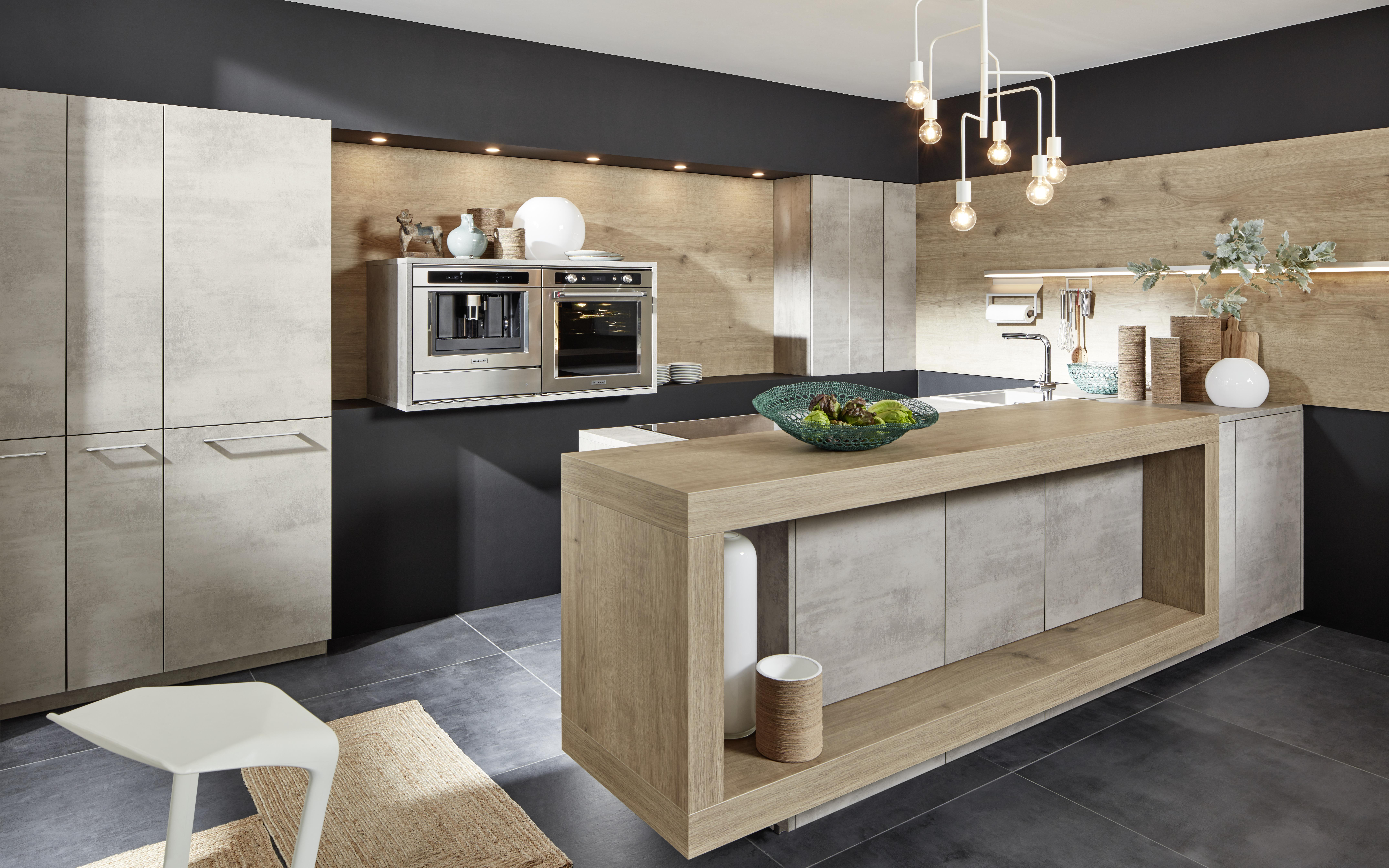 Modern Kitchen Design With Concrete Look And Wood Nolte Kuechen Com