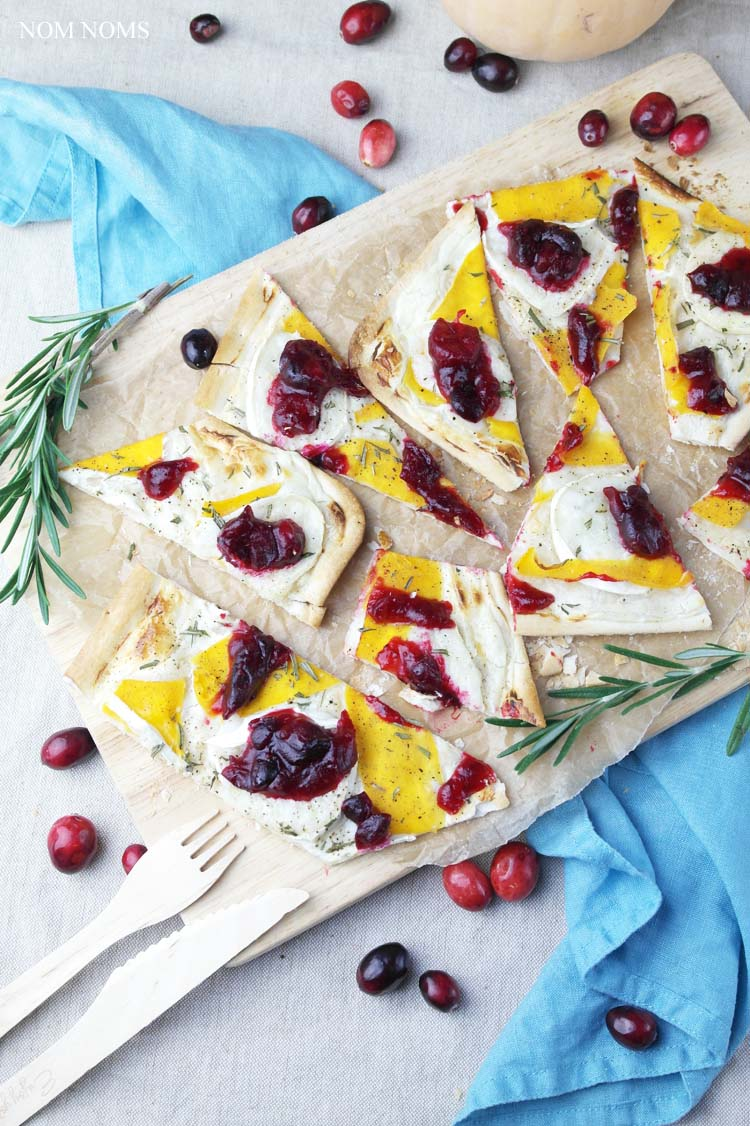 Asiatische Moringa Tarte Flambée With Butternut Squash Goat Cheese And Cranberry