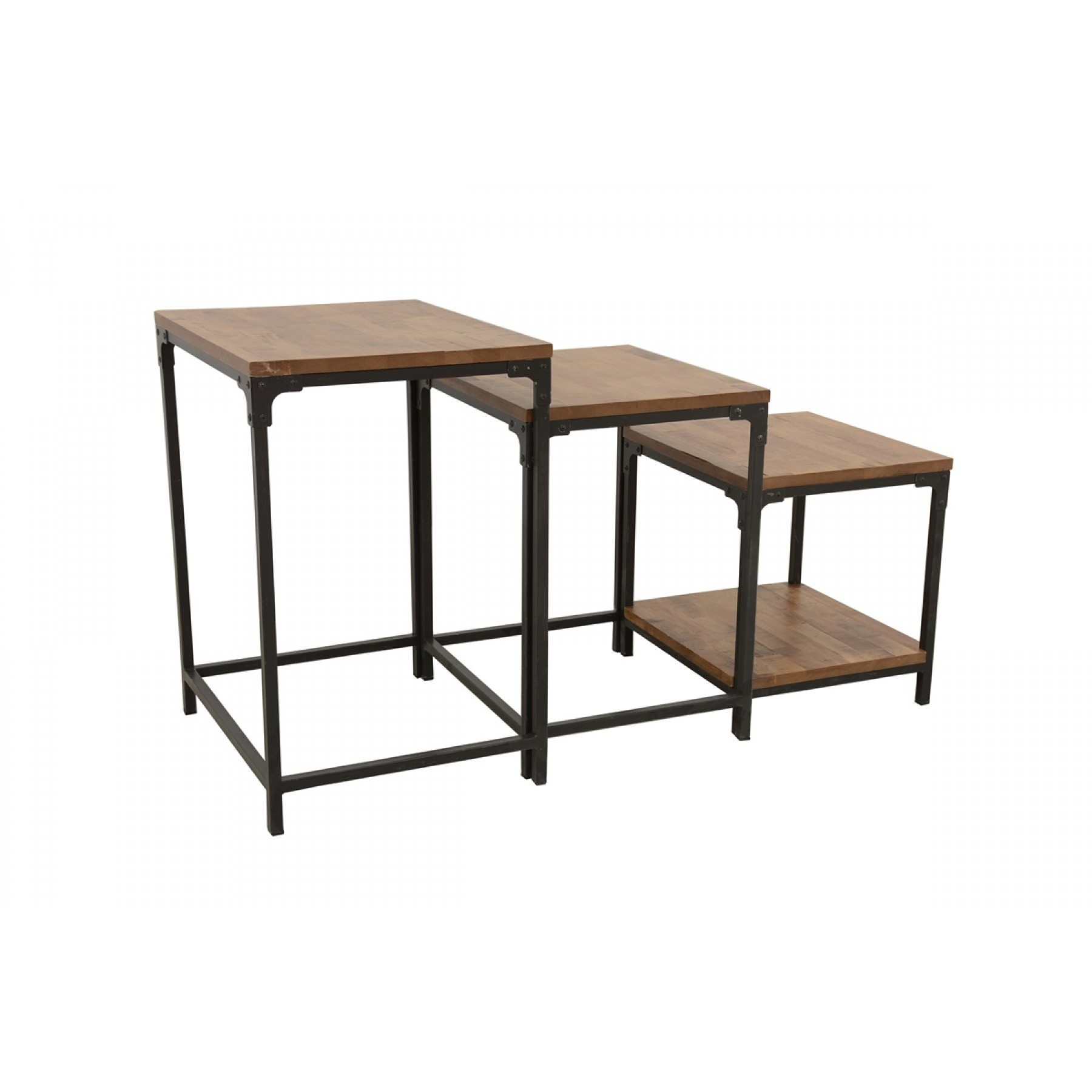 Table Gigogne En Bois Set De 3 Tables D Appoints Gigogne Plateau Bois Finition Naturelle Vieillie