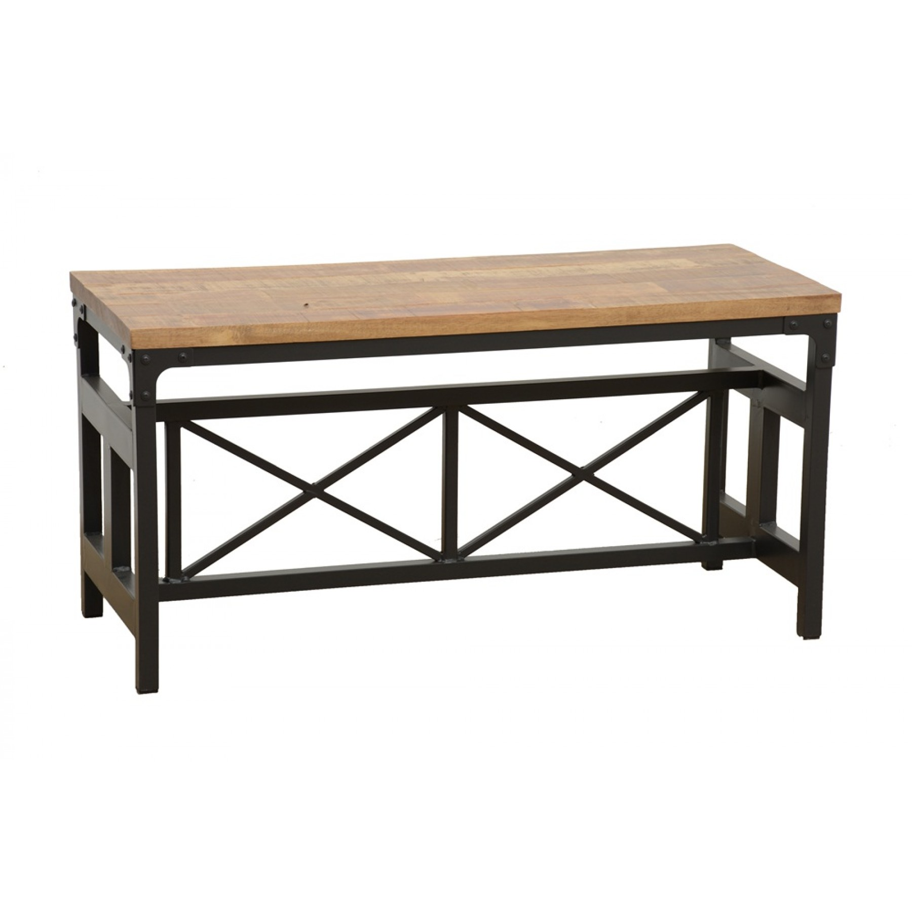 Table Fer Forgé Bois Banc Large Bois Fer Forgé Finition Naturelle Vieillie