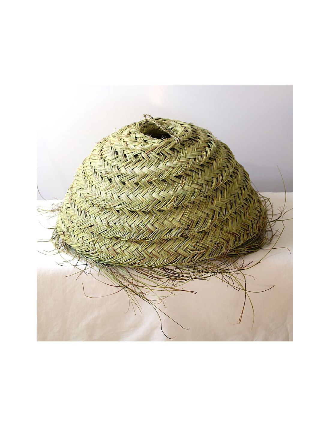Suspension Tressee Luminaire Braided Palm Fiber Suspension Boheme Nomad Déco