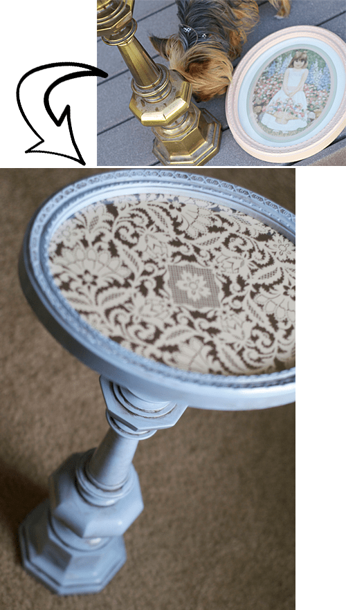 DIY Pedestal Table Made by Pearl's Rosebuds blog