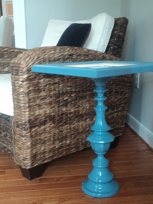Lamp base and picture frame DIY'd into a pedestal table by the Richmond Thrifter blog