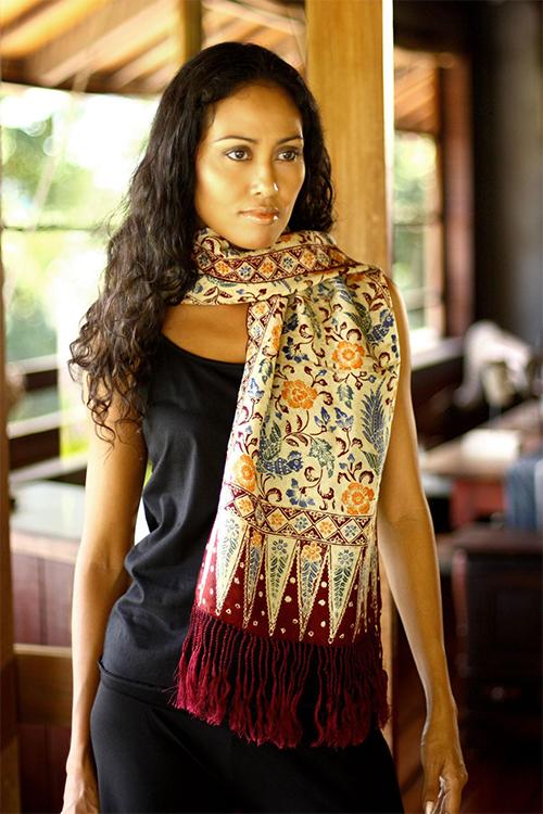 Novica Indonesian Batik Silk Scarf