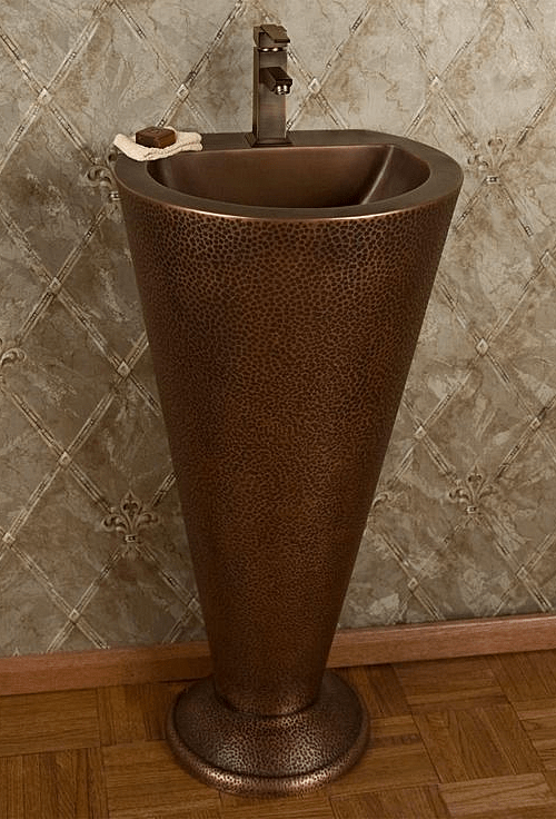 Hammered Copper Pedestal  Sink from Signature Hardware