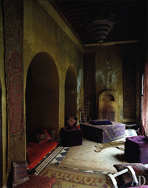 Marrakech Home with Olive Walls via Architectural Digest